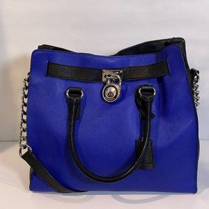 Blue and Black Michael Kors Hamilton Tote